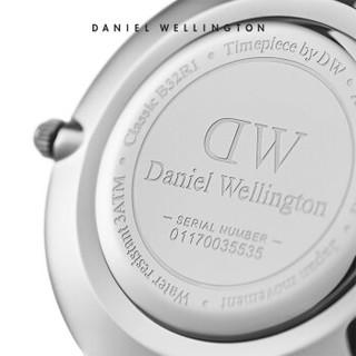 Daniel Wellington 丹尼尔惠灵顿 DW手表男女同款36mm银边简约白色表盘金属表带欧美学生表 DW00100306