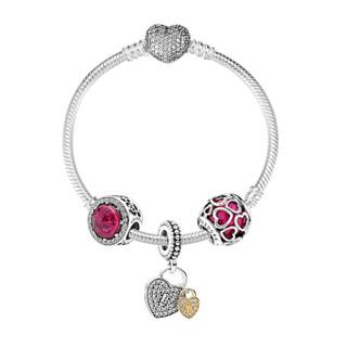 PANDORA 潘多拉 樱桃红缠绕的爱娇艳玫瑰琉璃串珠爱之锁吊坠闪耀爱心扣925银手链 XZT0077-18