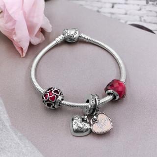 PANDORA 潘多拉 樱桃红缠绕的爱心形串珠粉色挚友吊坠爱心扣925银手链 XZT0078-18