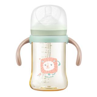 BabyCare 葆婴 宝宝奶瓶宽口径带吸管手柄耐摔 300ml淡藻绿     1730 (300-320mL、 PPSU、宽口径)