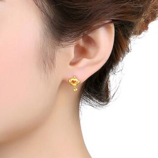 六福珠宝 GDG50108 足金皇冠黄金耳饰耳钉女款