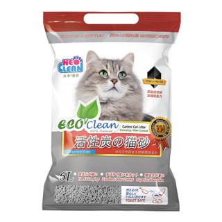 NEO CLEAN 天净 非10公斤20公斤水晶松木膨润土猫沙 艾可活性炭6L 灰色 (2.8kg)