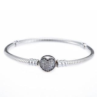 PANDORA 潘多拉 闪烁心形密镶扣925银手链 银色  590743CZ-17