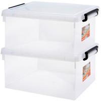 京东PLUS会员 : Jeko&Jeko SWB-5290 塑料透明整理箱 25L*2只装