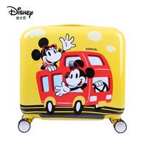 Disney 迪士尼儿童拉杆箱女行李箱万向轮登机箱可爱卡通小孩旅行箱 公车米奇18英寸 黄色DSMQ-1803-0013182