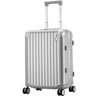 OIWAS 爱华仕 铝框拉杆箱20英寸密码锁行李箱 复古旅行箱登机箱静音万向飞机轮男女 6375银色