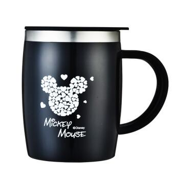 Disney 迪士尼 迪士尼马克杯DZ8258 不锈钢杯子带手柄大容量情侣咖啡马克杯 黑色420ML