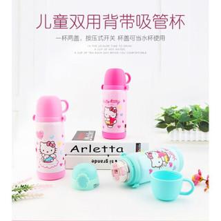Hello Kitty 凯蒂猫 KT-3753 304不锈钢水杯学生女双盖带杯套 粉红色-400ML