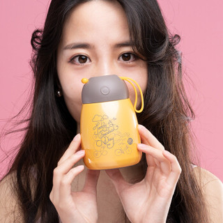 OPUS 81601-MT-XQBWB01 小Q304不锈钢女学生便携韩版保温杯   萌萌黄  300ML