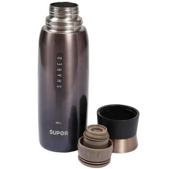 SUPOR 苏泊尔 304不锈钢保温壶 杯盖可以喝水 星空黑 500ML