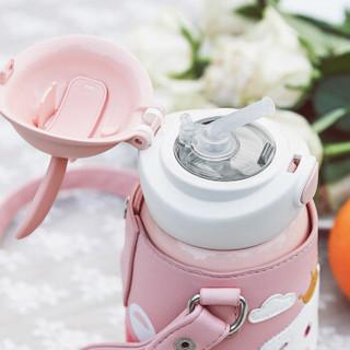 BeddyBear 杯具熊 儿童保温杯 316不锈钢双盖两用宝宝杯子 3D浮雕硅胶-粉色兔子 600ML
