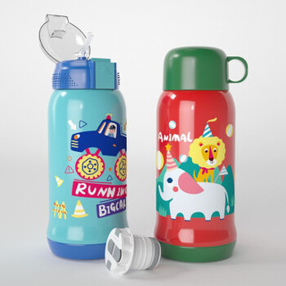 Tianxi 天喜 TBB75-600 316不锈钢带儿童保温杯 蓝色汽车550ml+杯套