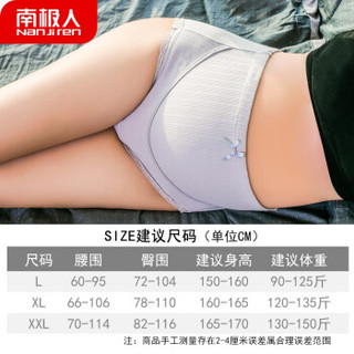 Nan ji ren 南极人 孕妇内裤   纯棉抑菌裆透气托腹   螺纹高腰款3条 XXL