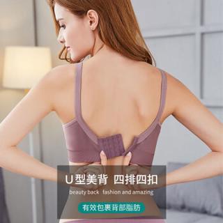 妈妈果 哺乳文胸无钢圈高弹力喂奶胸罩大码孕妇内衣前开扣聚拢防下垂 肤色 XL MMG642