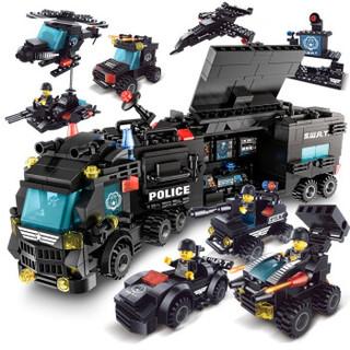 XIPOO 世标 儿童积木玩具拼插拼装 8合3飞虎特警含8人仔桶