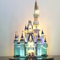 LEGO 乐高 积木 迪士尼公主女孩系列 小颗粒创意拼插 亲爱的热爱的 场景玩具 【含LED灯组遥控版】迪士尼城堡  71040