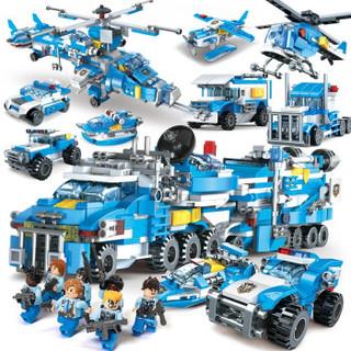 XIPOO 世标 儿童积木玩具拼插拼装 9合3雷霆积警全套30变735片