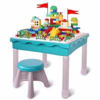 铭塔 多功能学习积木桌 男女孩益智游戏玩具 儿童早教拼插组装
