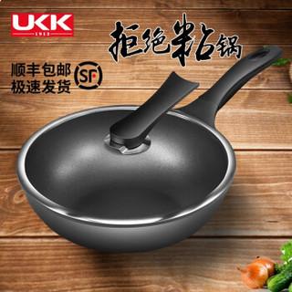 ukk wok-30 炒锅不粘锅 30厘米 黑色