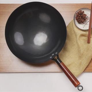 锻老大 京3代黑把 传统老式章丘铁锅  直径32cm 黑色