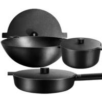 Velosan 铸铁锅无涂层物理不粘 34炒锅+28煎锅+26汤锅 黑色