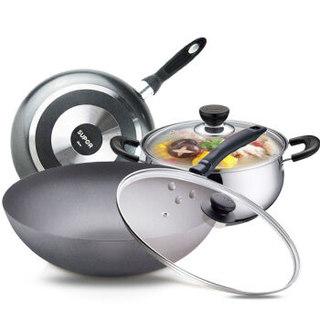 SUPOR 苏泊尔 锅具套装3/4件套 铸铁炒锅不锈钢汤锅 黑色