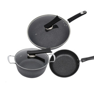 SIBAOLU 斯宝路 FS-6件套 麦饭石炒锅套装汤锅煎锅整套不粘锅 黑色