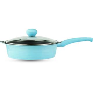 乐卡斯特 L-PJ2812S 多功能铝锅煎锅汤锅 28cm不粘锅 深煎蓝色