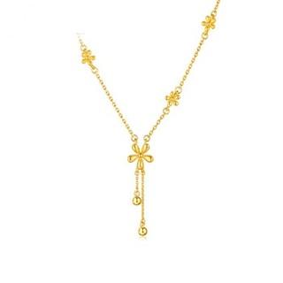 六福珠宝 足金小雏菊黄金项链女款套链含吊坠  HIG30070