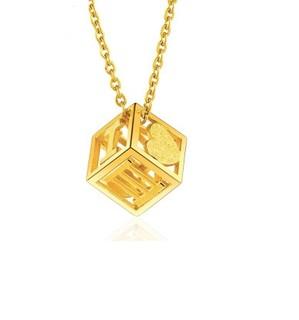 六福珠宝 金饰魅力系列足金1314罗马数字黄金项链套链  GDG3005