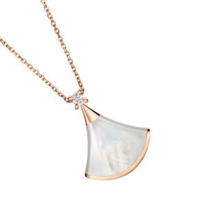 BVLGARI 宝格丽 18k玫瑰金镶嵌白贝母钻石扇形项链小号吊坠1.2x1.6cm链长41-43厘米 项链 CL856960