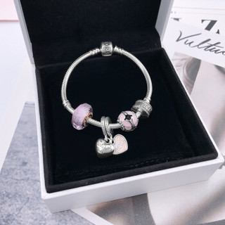 PANDORA 潘多拉 粉色闪烁琉璃珠爱的挚友情深蝶群起舞925银手链 XZT0089-18