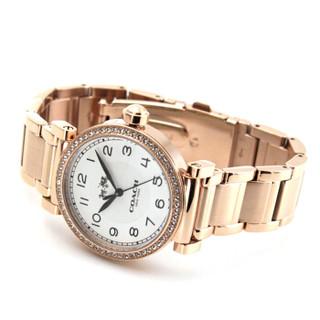 COACH 蔻驰 手表 Madison风尚系列时尚钢制表带女士石英手表刘雯同款 玫瑰金钢带带钻14502398