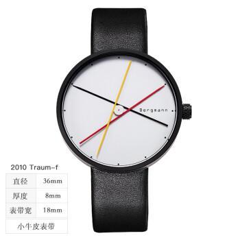 Chrono Bergmann 贝格曼 创意大表盘手表男士概念简约大表盘石英表男表 黑壳白面黑黄红黑皮-女  2010