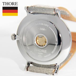 肖勒 THORE男表 超薄手表休闲石英防水 帆布撞色 直径40毫米 劳力绿&浅灰带  1688M3