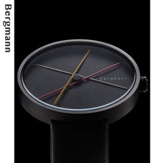Chrono Bergmann 贝格曼 创意大表盘手表男士概念简约大表盘石英表男表 黑壳黑面银黄红黑米-女  2010