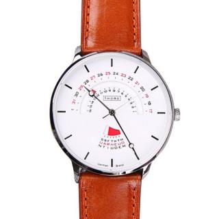 肖勒 THORE男士腕表手表 日历星期 复杂功能腕表 意大利表带 时尚超薄男表 雅致白橙色皮带  1672M