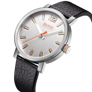 Hugo Boss 雨果博斯 手表男 正品欧美防水皮革石英男表潮流男士圆形白色腕表 1550035