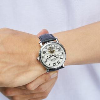 CALUOLA 卡罗莱 全自动机械表飞轮真皮带男士手表镂空复古男款手表防水运动腕表CA1064 银壳白面 1064M
