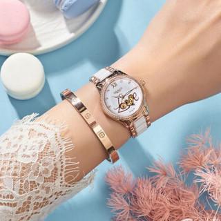 GEMAX 格玛仕 女士手表 全自动镂空机械表防水腕表小清新简约时尚女表 Love镂空钢陶瓷  g-m-x8010