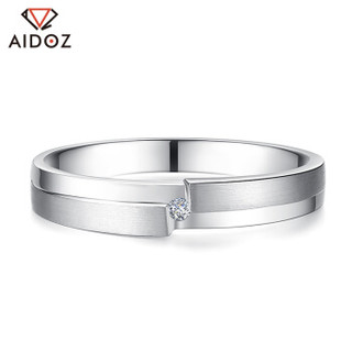 爱朵钻 pt950铂金情侣订婚钻石戒指 简约白金结婚求婚砖戒对戒一对 【对戒】     AP7038W/M