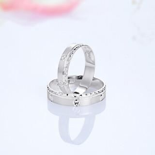 一诺一生 Pt950铂金戒指女戒 白金戒指女戒 情侣结婚戒指 铂金对戒男戒 一对10.54-10.74g     DTJP2JZ112