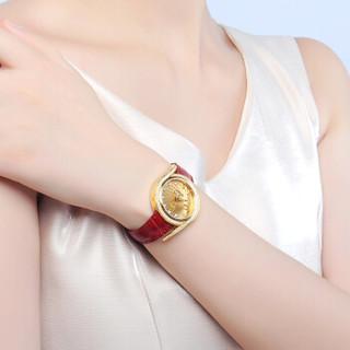 珍宝丽 全自动黄金手表女进口石英机芯防水镶钻款金表女纯金999金重约14g(带钻)  ZBL0102