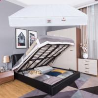 QM 曲美家居 北欧储物箱体皮床+床垫组合 1.8m