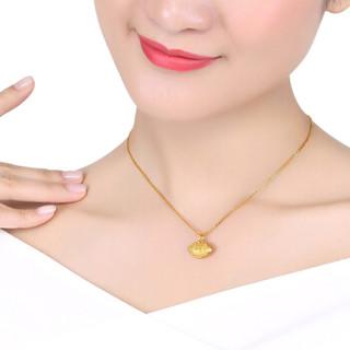 六福珠宝 足金长命锁富贵锁黄金吊坠不含项链 计价  B01TBGP0004