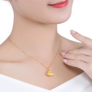 六福珠宝 足金弥勒佛黄金吊坠链坠不含项链 计价 约3.21克  B01TBGP0008