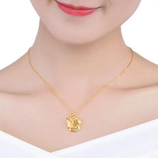 六福珠宝 足金优雅皇冠天鹅黄金吊坠女款挂坠金饰不含项链 计价  4.07克(含工费208元)  GDG70064