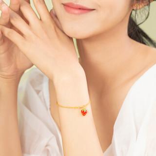 六福珠宝 水果系列足金珐琅工艺草莓黄金吊坠女款挂坠不含项链 定价 总重1.29克  GDA1E70014