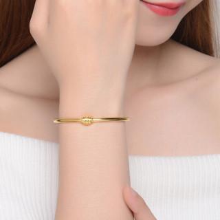 Tico 蒂蔻 我爱你520爱情密码黄金手镯女款3D硬足金手环可转动生日表白礼物送老婆送闺蜜