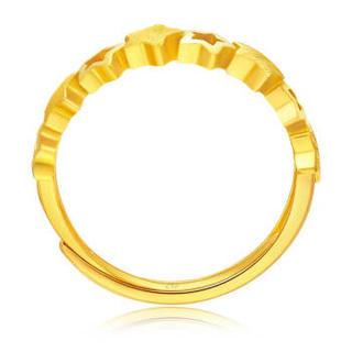 CHOW TAI FOOK 周大福 时尚拉丝星星足金黄金戒指女款 F203386 78 约3克
